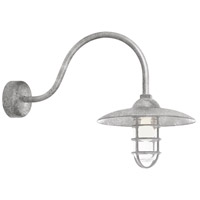 Troy RLM Lighting RID13MGA2LL23 Retro Industrial 1 Light 13 inch Galvanized Wall Sconce Wall Light in 23in Arm Clear Glass RLM Classics