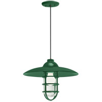 Retro Industrial 1 Light 13 inch Hunter Green Pendant Ceiling Light, Clear Glass, RLM Classics
