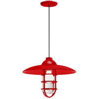 Troy RLM Lighting 5DRID13MRD-BC Retro Industrial 1 Light 13 inch Red Pendant Ceiling Light Clear Glass RLM Classics
