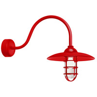 Troy RLM Lighting RID13MRD2LL23 Retro Industrial 1 Light 13 inch Red Wall Sconce Wall Light in 23in Arm Clear Glass RLM Classics