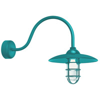 Troy RLM Lighting RID13MTTL2LL23 Retro Industrial 1 Light 13 inch Tahitian Teal Wall Sconce Wall Light in 23in Arm, Clear Glass, RLM Classics