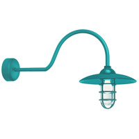 Troy RLM Lighting RID13MTTL2LL30 Retro Industrial 1 Light 13 inch Tahitian Teal Wall Sconce Wall Light in 30in Arm, Clear Glass, RLM Classics