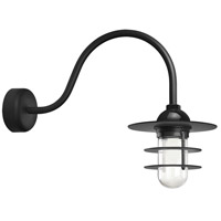 Troy RLM Lighting RRS10MBK2LL23 Retro Industrial 1 Light 10 inch Black Wall Sconce Wall Light in 23in Arm Clear Glass RLM Classics