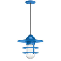 Retro Industrial 1 Light 10 inch Blue Pendant Ceiling Light, Clear Glass, RLM Classics