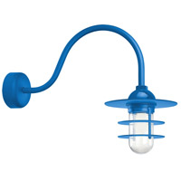 Troy RLM Lighting RRS10MBLU2LL23 Retro Industrial 1 Light 10 inch Blue Wall Sconce Wall Light in 23in Arm, Clear Glass, RLM Classics