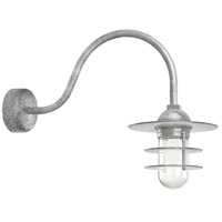 Troy RLM Lighting RRS10MGA2LL23 Retro Industrial 1 Light 10 inch Galvanized Wall Sconce Wall Light in 23in Arm, Clear Glass, RLM Classics