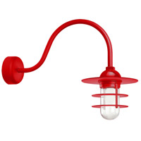 Troy RLM Lighting RRS10MRD2LL23 Retro Industrial 1 Light 10 inch Red Wall Sconce Wall Light in 23in Arm, Clear Glass, RLM Classics