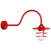 Troy RLM Lighting RRS10MRD2LL30 Retro Industrial 1 Light 10 inch Red Wall Sconce Wall Light in 30in Arm Clear Glass RLM Classics