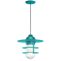 Troy RLM Lighting 5DRRS10MTTL-BC Retro Industrial 1 Light 10 inch Tahitian Teal Pendant Ceiling Light Clear Glass RLM Classics