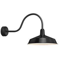 Standard 1 Light 16 inch Black Wall Sconce Wall Light in 30in Arm, RLM Classics