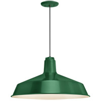 Standard 1 Light 16 inch Hunter Green Pendant Ceiling Light, RLM Classics