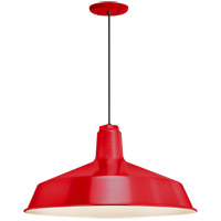 Standard 1 Light 16 inch Red Pendant Ceiling Light, RLM Classics