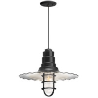 Troy RLM Lighting 5DRW16MCGGBK-BC Radial Wave 1 Light 16 inch Black Pendant Ceiling Light Clear Glass RLM Classics