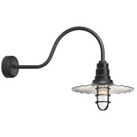 Radial Wave 1 Light 16 inch Black Wall Sconce Wall Light in 30in Arm, Clear Glass, RLM Classics