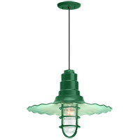 Radial Wave 1 Light 16 inch Hunter Green Pendant Ceiling Light, Clear Glass, RLM Classics