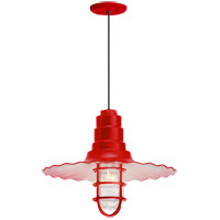 Troy RLM Lighting 5DRW16MCGGRD-BC Radial Wave 1 Light 16 inch Red Pendant Ceiling Light Clear Glass RLM Classics