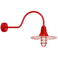 Radial Wave 1 Light 16 inch Red Wall Sconce Wall Light in 30in Arm, Clear Glass, RLM Classics