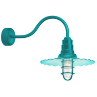 Troy RLM Lighting RW16MCGGTTL3SL23 Radial Wave 1 Light 16 inch Tahitian Teal Wall Sconce Wall Light in 23in Arm Clear Glass RLM Classics