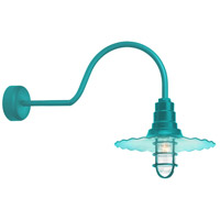 Radial Wave 1 Light 16 inch Tahitian Teal Wall Sconce Wall Light in 30in Arm, Clear Glass, RLM Classics