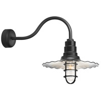 Radial Wave 1 Light 18 inch Black Wall Sconce Wall Light in 23in Arm, Clear Glass, RLM Classics