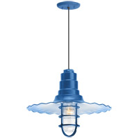 Troy RLM Lighting 5DRW18MCGGBLU-BC Radial Wave 1 Light 18 inch Blue Pendant Ceiling Light Clear Glass RLM Classics