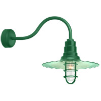 Radial Wave 1 Light 18 inch Hunter Green Wall Sconce Wall Light in 23in Arm, Clear Glass, RLM Classics
