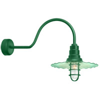 Radial Wave 1 Light 18 inch Hunter Green Wall Sconce Wall Light in 30in Arm, Clear Glass, RLM Classics