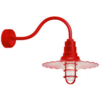 Radial Wave 1 Light 18 inch Red Wall Sconce Wall Light in 23in Arm, Clear Glass, RLM Classics