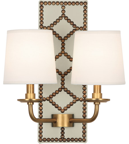 Robert Abbey 1032 Williamsburg Lightfoot 2 Light 14 inch Bruton White Leather with Aged Brass Wall Sconce Wall Light photo