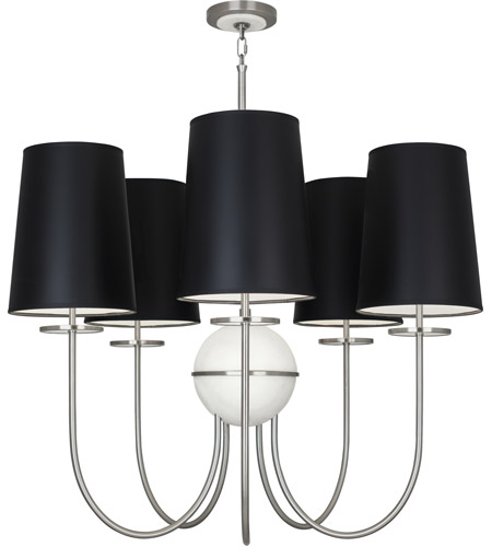 Robert Abbey 1423B Fineas 5 Light 15 inch Dark Antique Nickel with Alabaster Stone Chandelier Ceiling Light in Black With White photo