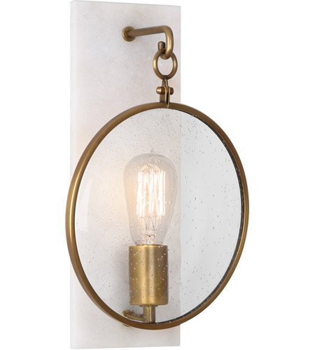 Robert Abbey 1518 Fineas 1 Light 9 inch Alabaster Stone with Aged Brass Wall Sconce Wall Light photo
