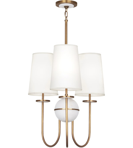 Robert Abbey 1519 Fineas 3 Light 23 inch Aged Brass with Alabaster Stone Chandelier Ceiling Light in Fondine Fabric photo