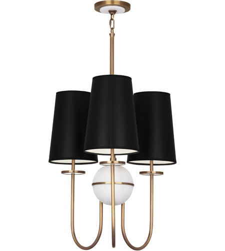 Robert Abbey 1519B Fineas 3 Light 15 inch Aged Brass with Alabaster Stone Chandelier Ceiling Light in Black With White photo