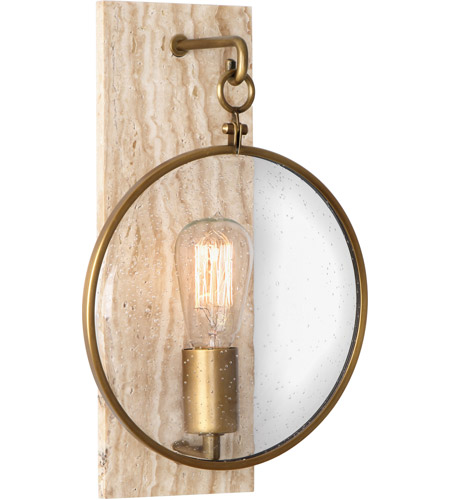 Robert Abbey 1520 Fineas 1 Light 9 inch Travertine Stone with Aged Brass Wall Sconce Wall Light photo