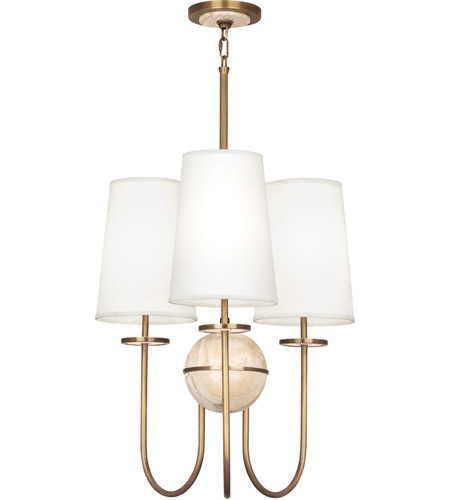 Robert Abbey 1521 Fineas 3 Light 15 inch Aged Brass with Travertine Stone Chandelier Ceiling Light in Fondine photo
