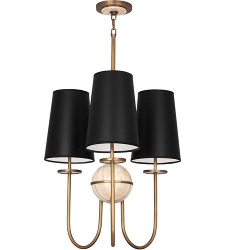 Robert Abbey 1521B Fineas 3 Light 23 inch Aged Brass with Travertine Stone Chandelier Ceiling Light in Black Opaque Parchment photo