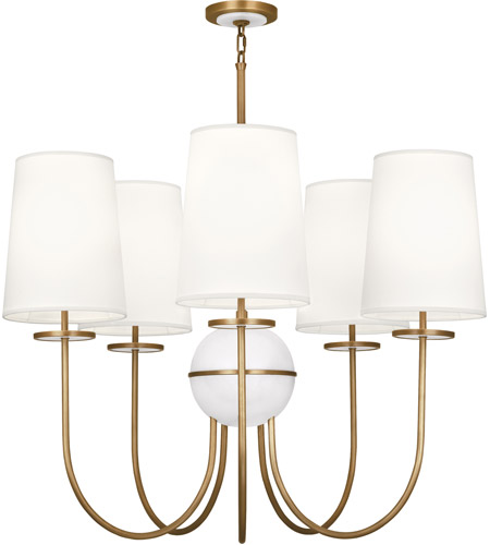 Robert Abbey 1523 Fineas 5 Light 35 inch Aged Brass with Alabaster Stone Chandelier Ceiling Light in Fondine Fabric, Alabaster Stone Accent photo