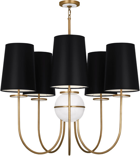 Robert Abbey 1523B Fineas 5 Light 15 inch Aged Brass with Alabaster Stone Chandelier Ceiling Light in Black With White, Alabaster Stone Accent photo