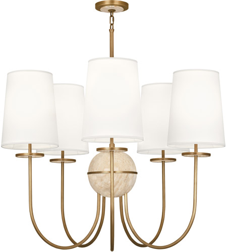 Robert Abbey 1525 Fineas 5 Light 35 inch Aged Brass with Travertine Stone Chandelier Ceiling Light in Fondine Fabric, Travertine Stone Accent photo
