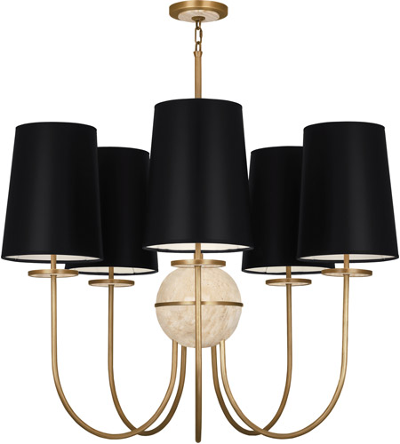 Robert Abbey 1525B Fineas 5 Light 35 inch Aged Brass with Travertine Stone Chandelier Ceiling Light in Black Parchment, Travertine Stone Accent photo