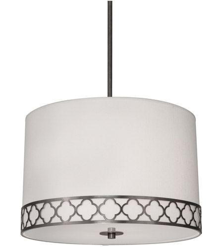 Robert Abbey 1544 Addison 3 Light 22 inch Patina Nickel Pendant Ceiling Light in Pearl Dupioni Fabric