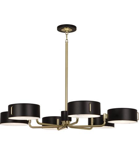 robert abbey simon 6 light 37 inch modern brass chandelier ceiling light - Robert Abbey