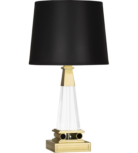 Robert Abbey 155B Darius 18 inch 100 watt Modern Brass Table Lamp Portable Light in Black Opaque Parchment