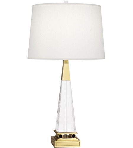 Robert Abbey 156 Darius 29 inch 150 watt Modern Brass Table Lamp Portable Light in Pearl Dupioni Fabric