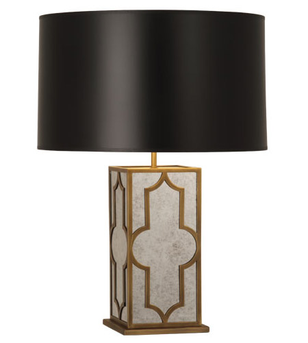 Robert Abbey 1570B Addison 28 inch 150 watt Weathered Brass Table Lamp Portable Light in Black Painted Opaque Parchment