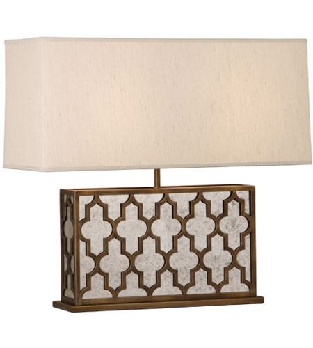 Robert Abbey 1571 Addison 21 inch 100 watt Weathered Brass Table Lamp Portable Light in Taupe Dupioni Fabric