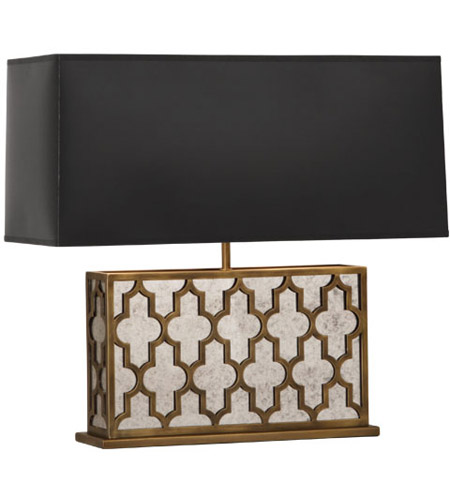 Robert Abbey 1571B Addison 21 inch 100 watt Weathered Brass Table Lamp Portable Light in Black Painted Opaque Parchment
