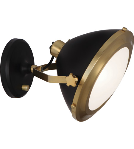 Robert Abbey 1581 Apollo 1 Light 13 inch Antique Brass with Matte Black Wall Sconce Wall Light photo