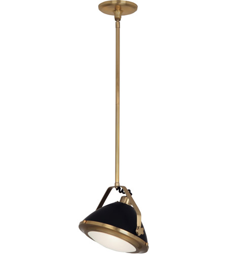 Robert Abbey 1582 Apollo 1 Light 13 inch Antique Brass with Matte Black Painted Pendant Ceiling Light