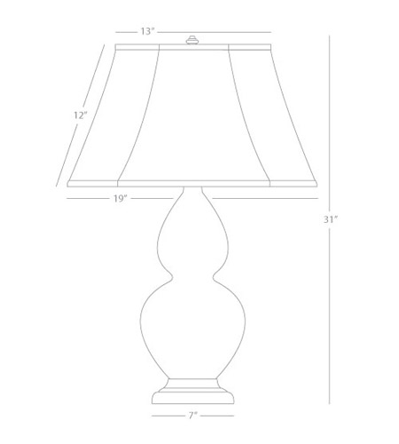 Robert Abbey 1606 Double Gourd 31 inch 150 watt Butter with Antique Silver Table Lamp Portable Light in Ivory Stretched Fabric 1606_line.jpg
